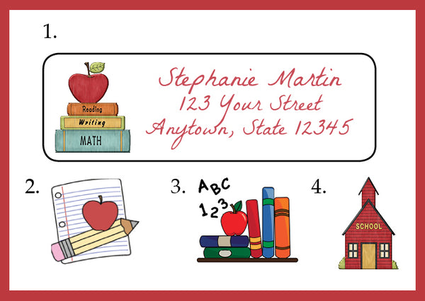 Personalized SCHOOL and TEACHER Design Return ADDRESS Labels 2 - J & S Graphics