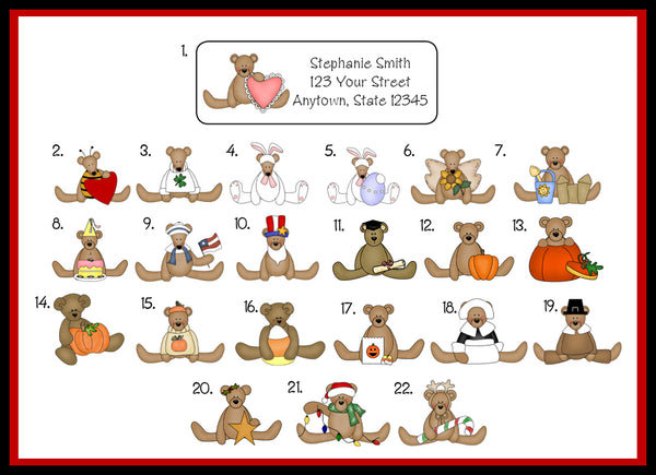 personalized seasonal teddy bear address labels christmas