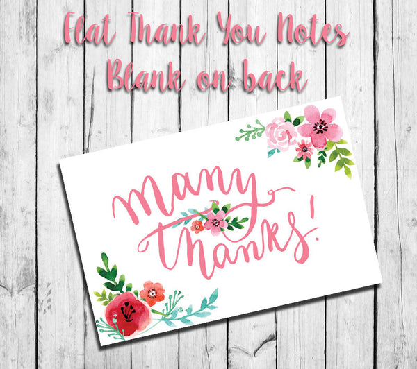 FLORAL THANK YOU Note CARDS, Digital Printable, Instant Download