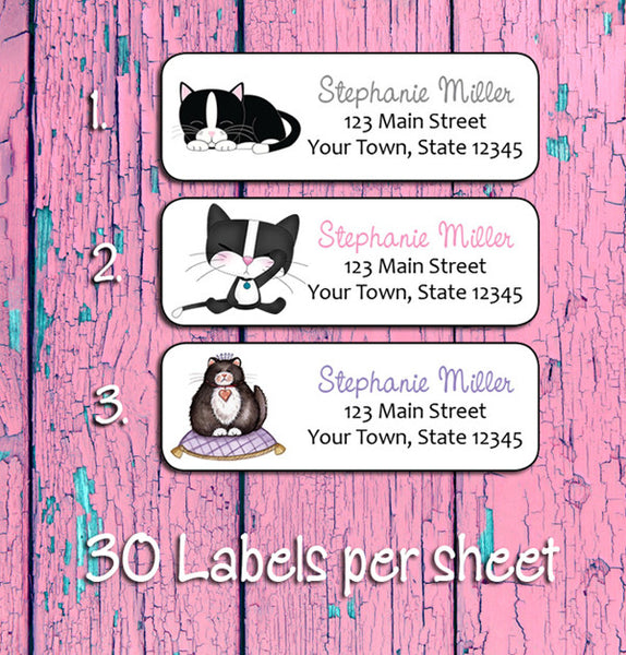personalized tuxedo cat address labels 30 return address labels per
