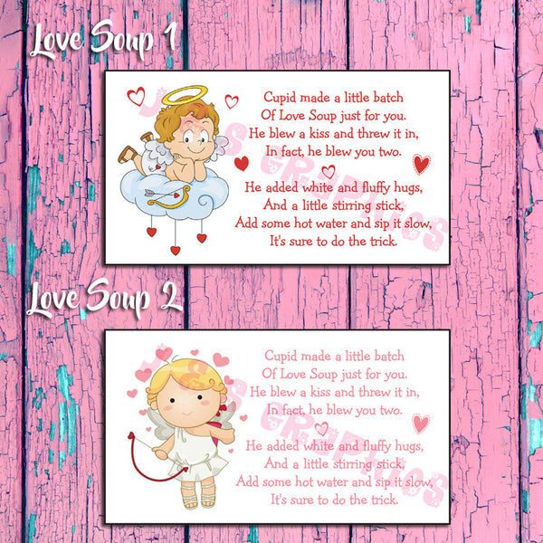 LABELS for Cupid LOVE SOUP - Label your VALENTINE'S DAY Hot Chocolate Goody Bags - J & S Graphics