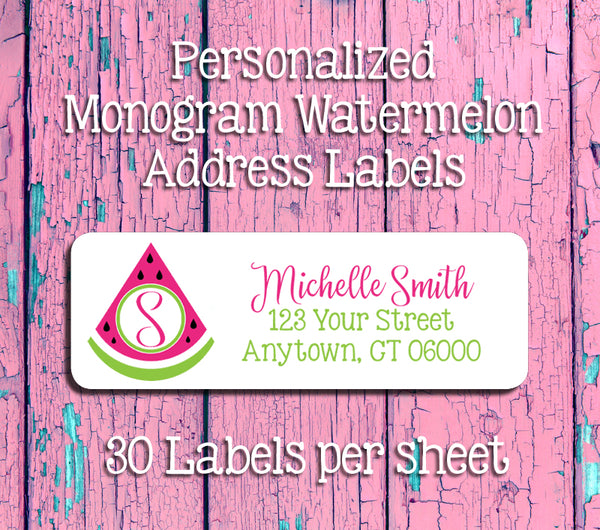 Personalized Monogram WATERMELON Address Labels, Return Address Labels, Summer, Picnic