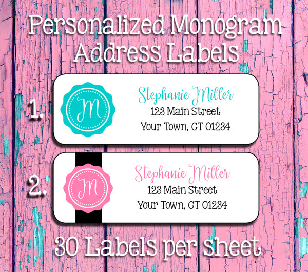 30 MONOGRAM Designs Personalized Return ADDRESS Labels - J & S Graphics