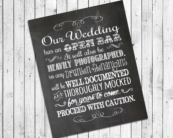 Rustic Look OPEN BAR, Instant Download Humorous 8x10 Printable Wedding Decor - J & S Graphics