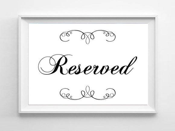 RESERVED Business or Wedding Decor Instant Download, 5x7 Sign - J & S Graphics