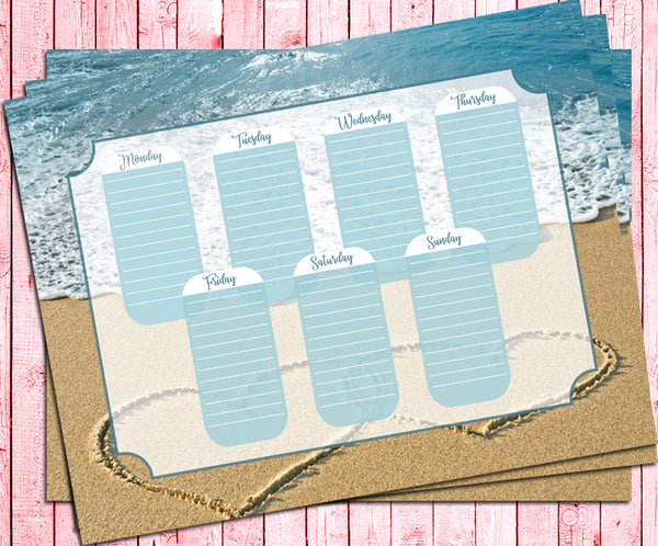 Weekly To Do List PLANNER Page, BEACH Ocean Design, Instant Download Digital File