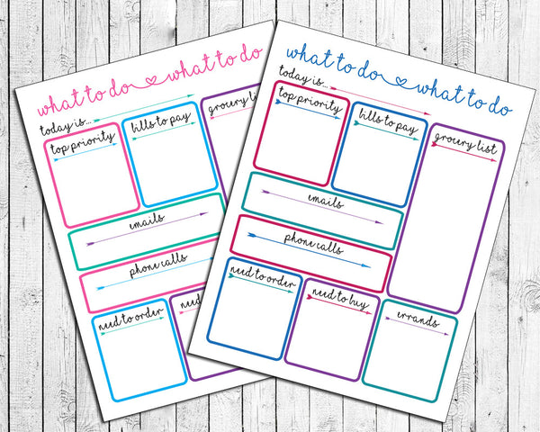 Printable Daily Planner, To Do List for Family, Desk Calendar Schedule, Planner Daily, DIY Instant Download - J & S Graphics
