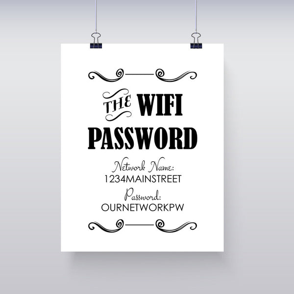 WIFI Password Instant Download 8x10 Business Sign - EDITABLE - J & S Graphics