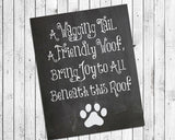 A Wagging Tail, a Friendly Woof 8x10 Wall Decor Faux Chalkboard Print, Dog Owner - J & S Graphics