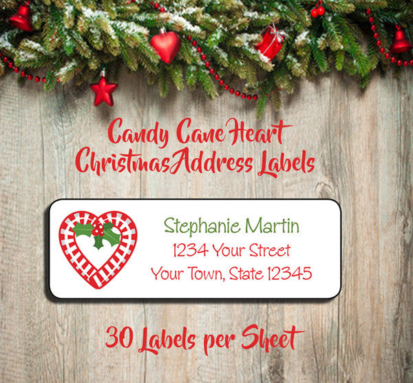 Personalized CHRISTMAS Address Labels, Family Christmas CANDY CANE HEART Return Address Labels - J & S Graphics