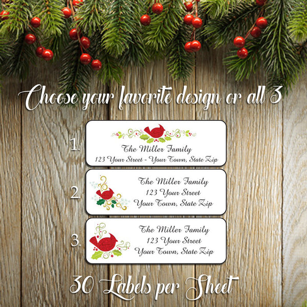 Personalized CHRISTMAS Address Labels, Personalized Cardinals Design - J & S Graphics