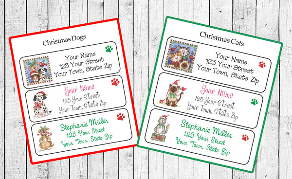 CHRISTMAS Address Labels, Family Personalized Dogs or Cats Designs - J & S Graphics