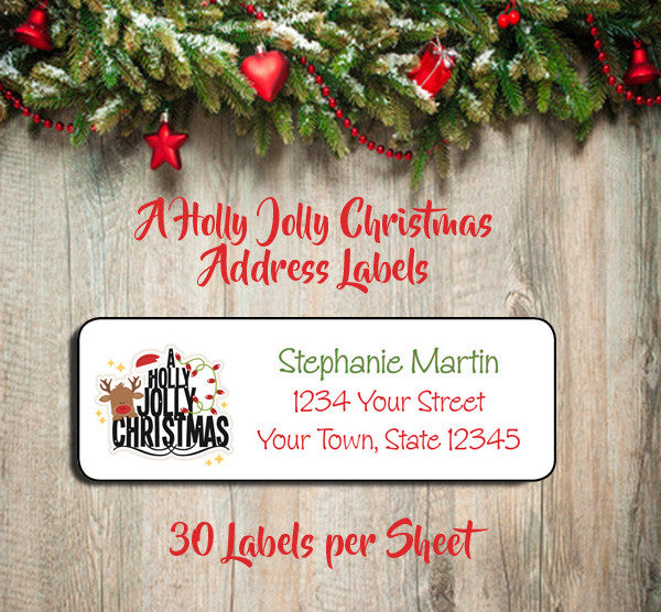 Personalized CHRISTMAS Address Labels, Family  HOLLY JOLLY CHRISTMAS Return Address Labels - J & S Graphics