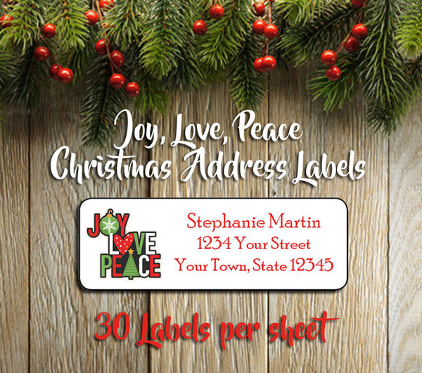 Personalized CHRISTMAS Address Labels, Family JOY PEACE LOVE Return Address Labels - J & S Graphics