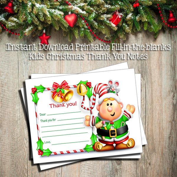 Children's CHRISTMAS THANK YOU Note CARDS, Digital Printable, Fill in the Blanks - J & S Graphics