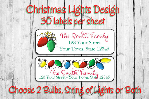 Personalized CHRISTMAS Address Labels, String of Lights Design - J & S Graphics