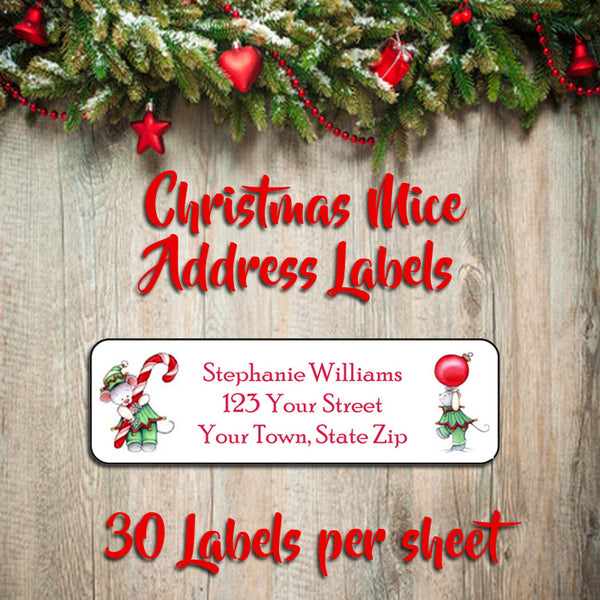 Personalized CHRISTMAS Address Labels, Family Christmas MICE Return Address Labels - J & S Graphics