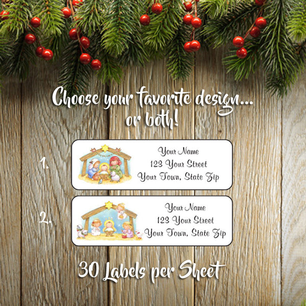 Christmas Return Address Labels.Personalized Christmas Address Labels Family Nativity Manger Design