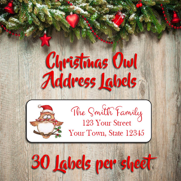 Personalized CHRISTMAS Address Labels, Family Christmas OWL Return Address Labels