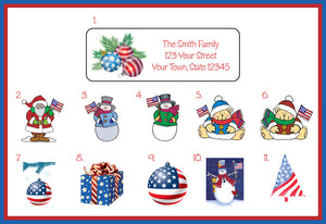Christmas Labels.Personalized Christmas Patriotic Design Address Labels Patriotic Christmas Labels