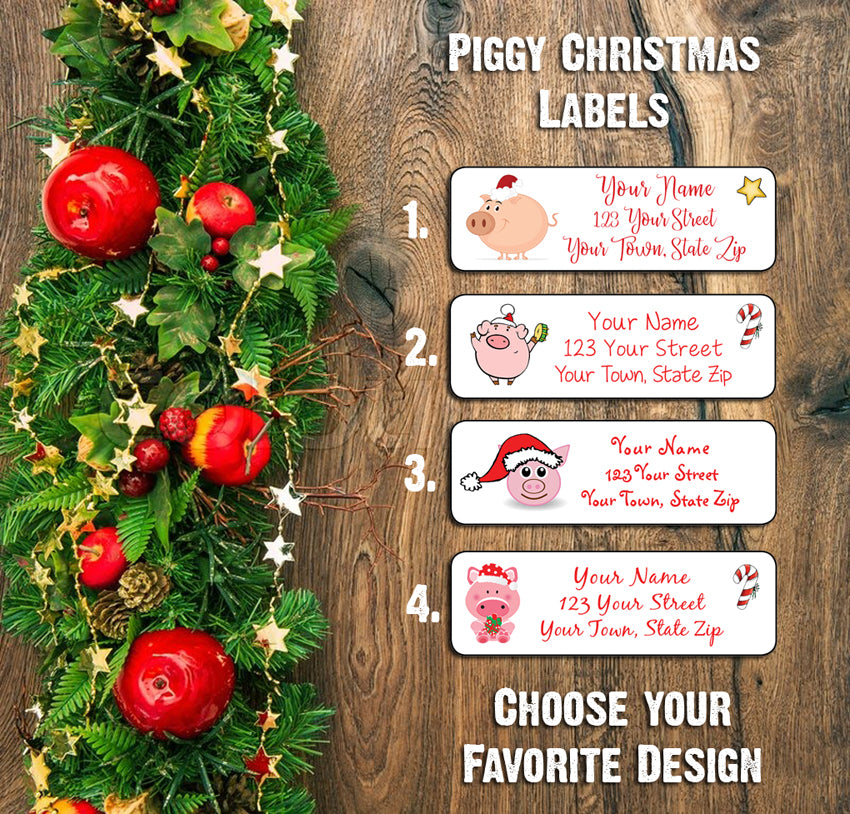 Christmas Pigs.Personalized Christmas Pig Address Labels Family Return Address Labels Piggy Piggies