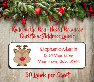 Christmas Address Labels.Personalized Christmas Rudolph The Red Nosed Reindeer Christmas Return Address Labels