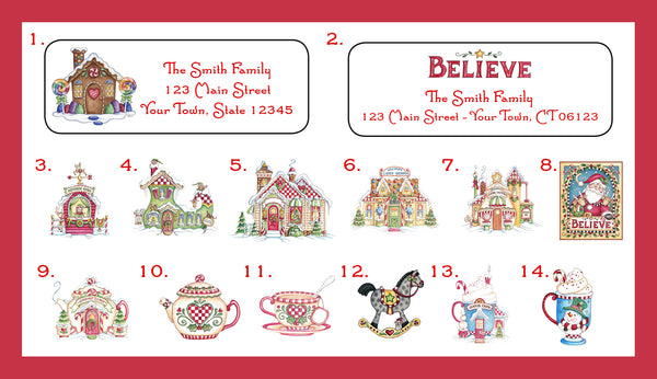 christmas address labels family personalized holly jolly christmas