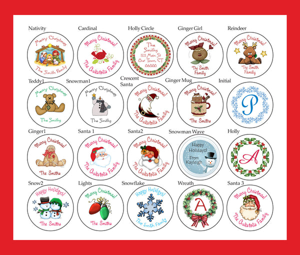 "Round CHRISTMAS LABELS / STICKERS / SEALS, 1.5"" Personalized Round Labels - J & S Graphics"