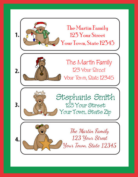 Personalized CHRISTMAS Address Labels, Family, Teddy Bear Designs - J & S Graphics