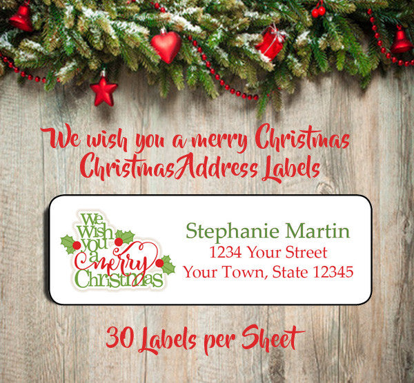 Christmas Return Address Labels.Personalized Christmas We Wish You A Merry Christmas Return Address Labels