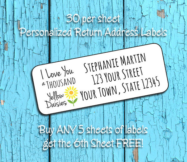 Personalized I Love You A Thousand Yellow Daisies Personalized Return Address Labels, Gilmore Girls - J & S Graphics
