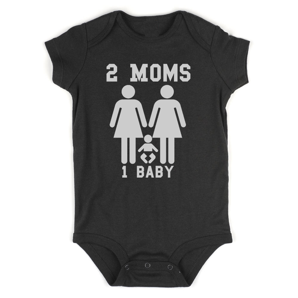 2 Moms 1 Baby Baby Bodysuit One Piece Black