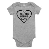 All You Need Is Love Baby Bodysuit One Piece Grey