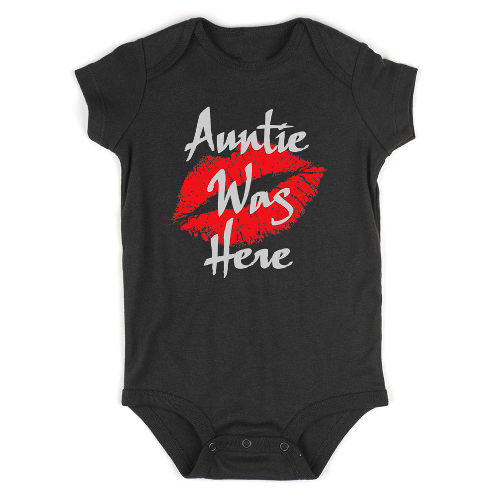 Auntie Was Here Baby Bodysuit One Piece Black
