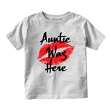 Auntie Was Here Baby Infant Short Sleeve T-Shirt Grey