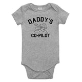 Aviator Daddys Co Pilot Baby Bodysuit One Piece Grey