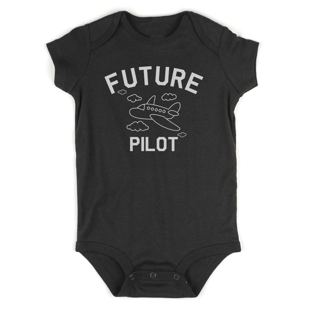 Aviator Future Pilot Baby Bodysuit One Piece Black