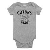 Aviator Future Pilot Baby Bodysuit One Piece Grey