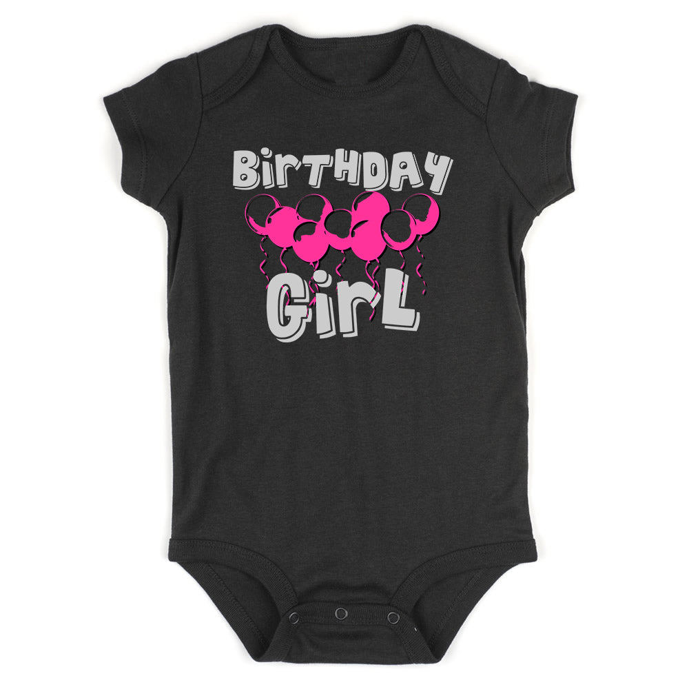 Birthday Girl Pink Balloons 1st One Baby Bodysuit One Piece Black