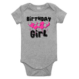 Birthday Girl Pink Balloons 1st One Baby Bodysuit One Piece Grey