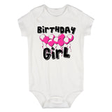 Birthday Girl Pink Balloons 1st One Baby Bodysuit One Piece White