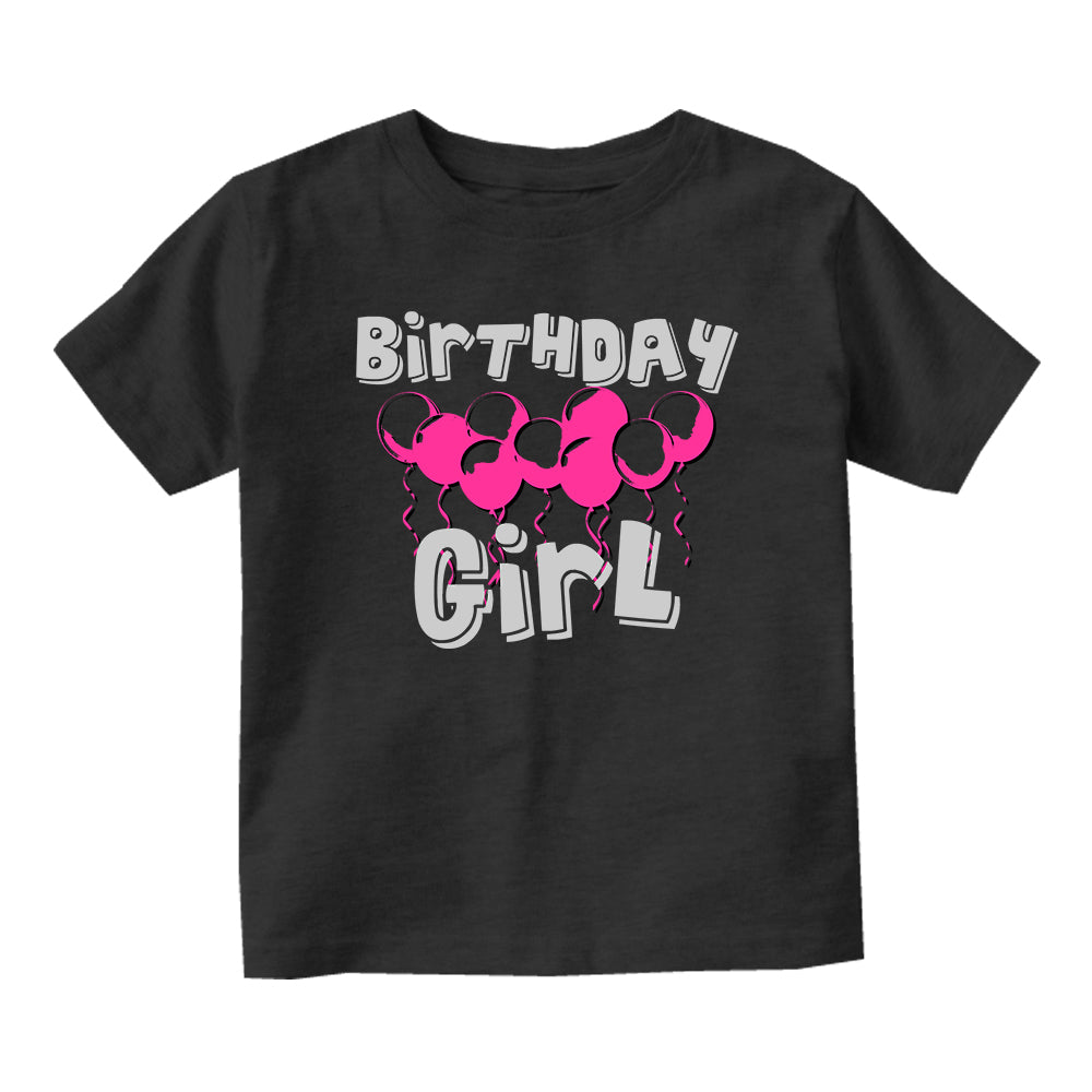 Birthday Girl Pink Balloons 1st One Baby Toddler Short Sleeve T-Shirt Black
