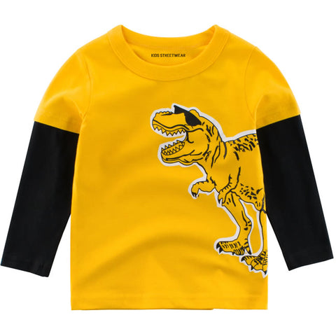 Yellow Funny Dinosaur Sunglasses RM Toddler Boys Long Sleeve Shirt