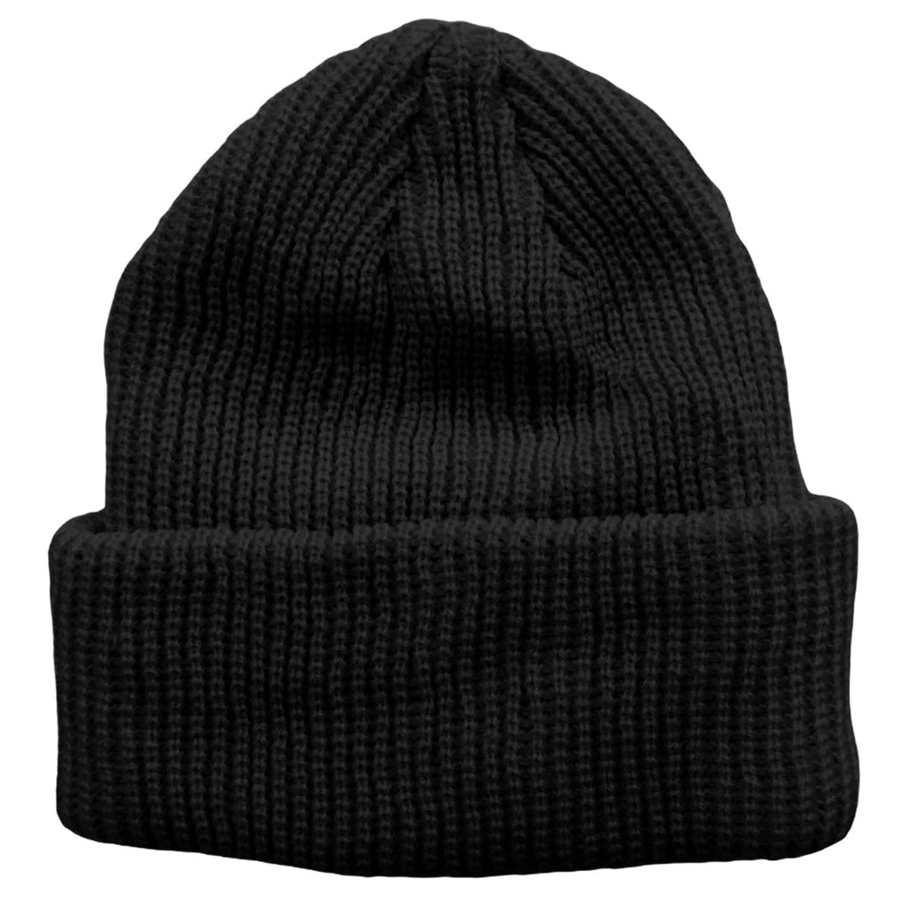 Black Toddler Boys Girls Cuffed Winter Beanie Hat