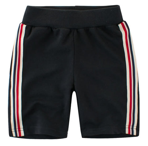 Black Multi Striped Streetwear Toddler Boys Shorts