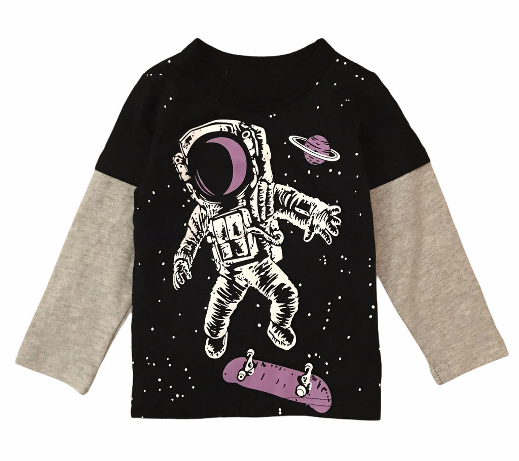 Black Skateboard Astronaut Galaxy RM Toddler Boys Long Sleeve Shirt
