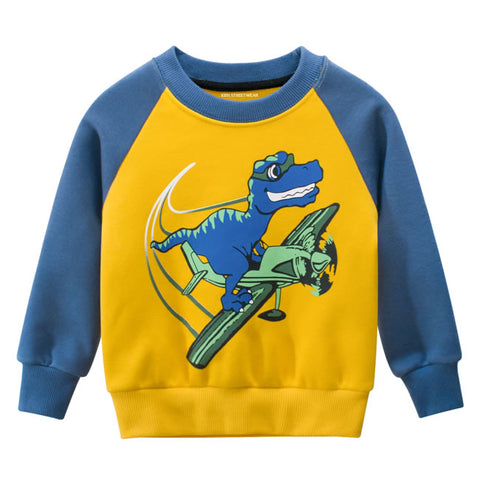 Blue Yellow Dinosaur Airplane RM Toddler Boys Raglan Crewneck Sweatshirt