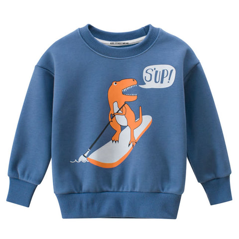Blue Surfing Dinosaur Graphic RM Toddler Boys Crewneck Sweatshirt
