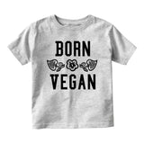 Born Vegan Leaves Baby Toddler Short Sleeve T-Shirt Grey