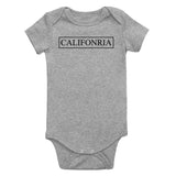 California Box Logo Infant Baby Boys Bodysuit Grey